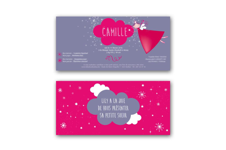 Faire-part naissance Camille