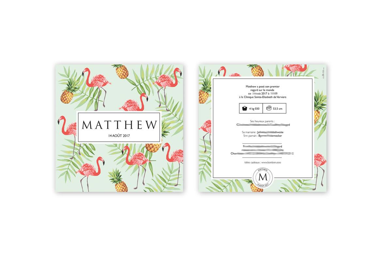 Faire-part de naissance Matthew